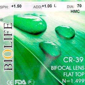Линза полимерная бифокальная CR-39 N=1.499 Flat top bifocal HMC