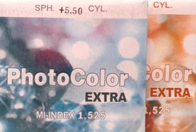 Линза минеральная фотохромная Photo Corning N=1,525
