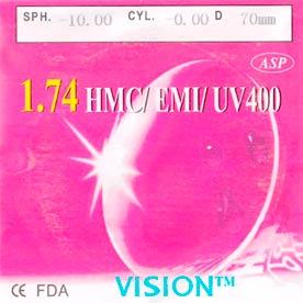 Линза полимерная N=1,74 AS HMC EMI UV